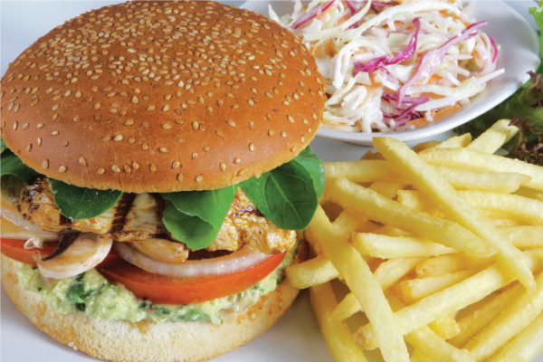 Image of burger and fries with coleslaw from Clay restaurant & playground's menu