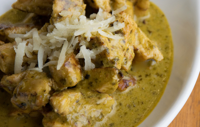Image of grilled chicken with pesto sauce from Clay's Lebanese Mezza menu