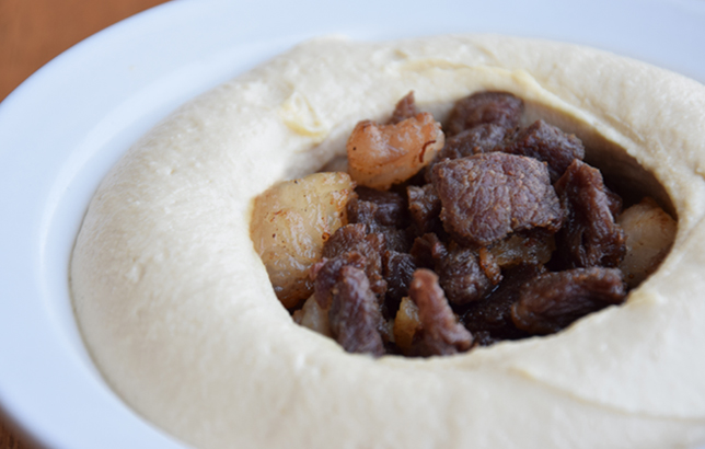 Image of Hommos with meat plate from Clay's Lebanese Mezza menu