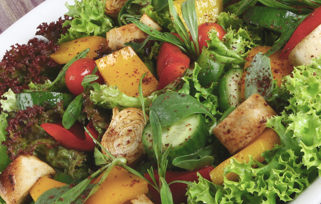 Image of a typical Lebanese salad which is famous for its pomegranate dressing