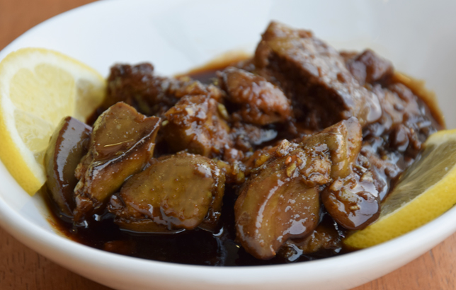 Photo of chicken liver with pomegranate sauce from Clay's Lebanese mezza menu