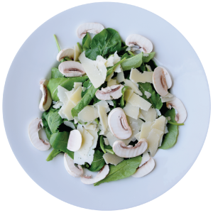 Image of Rocca Breeze salad with fresh mushrooms and parmesan cheese