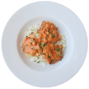 Image of Chicken breasts with chorizo sauce, served with white basmati rice
